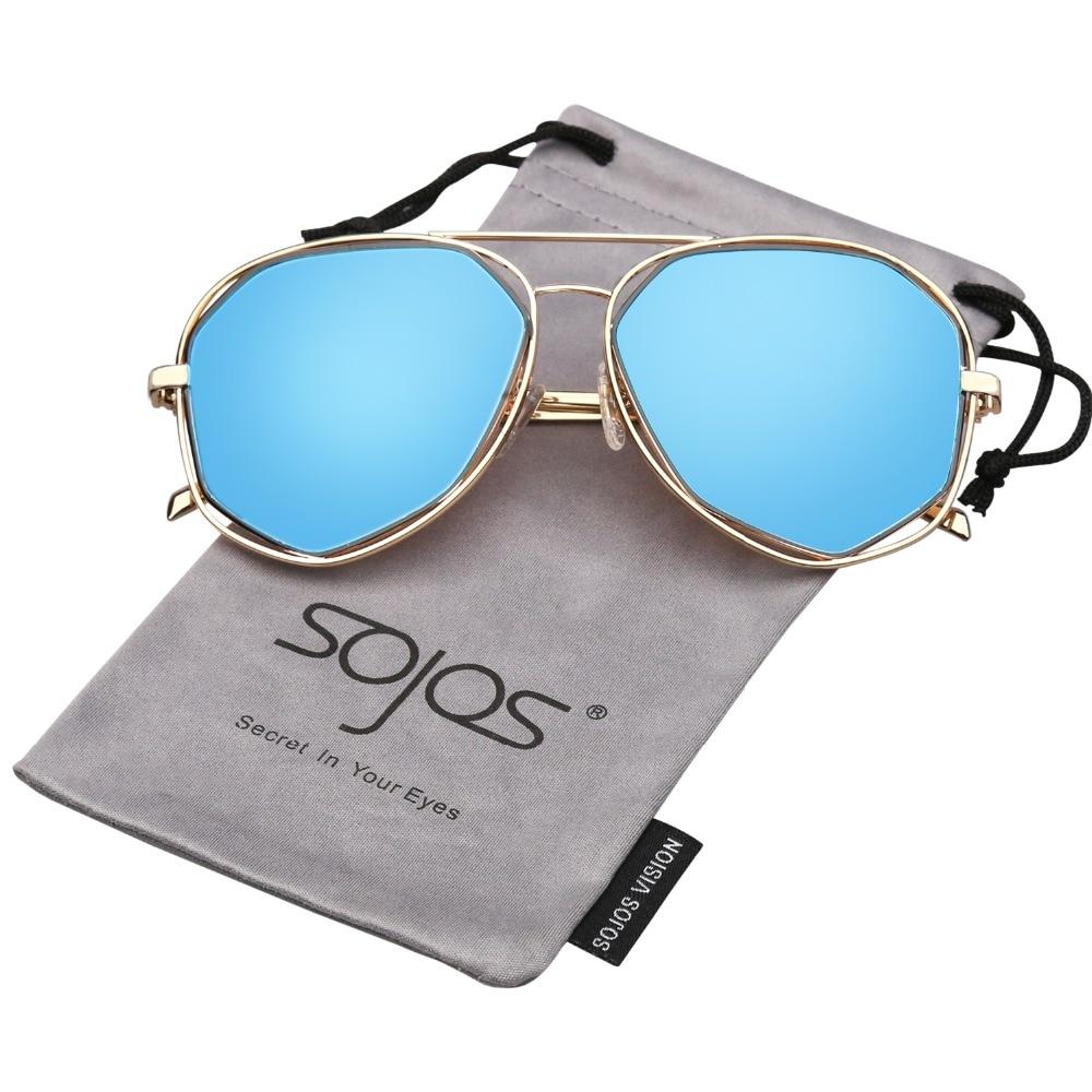 71e17b03be877 SOJOS 2017 Marca retro Designer twin vigas de aviador armação de metal  óculos de sol das mulheres Revestimento de espelho plano Irregular óculos  UV400 1004 ...