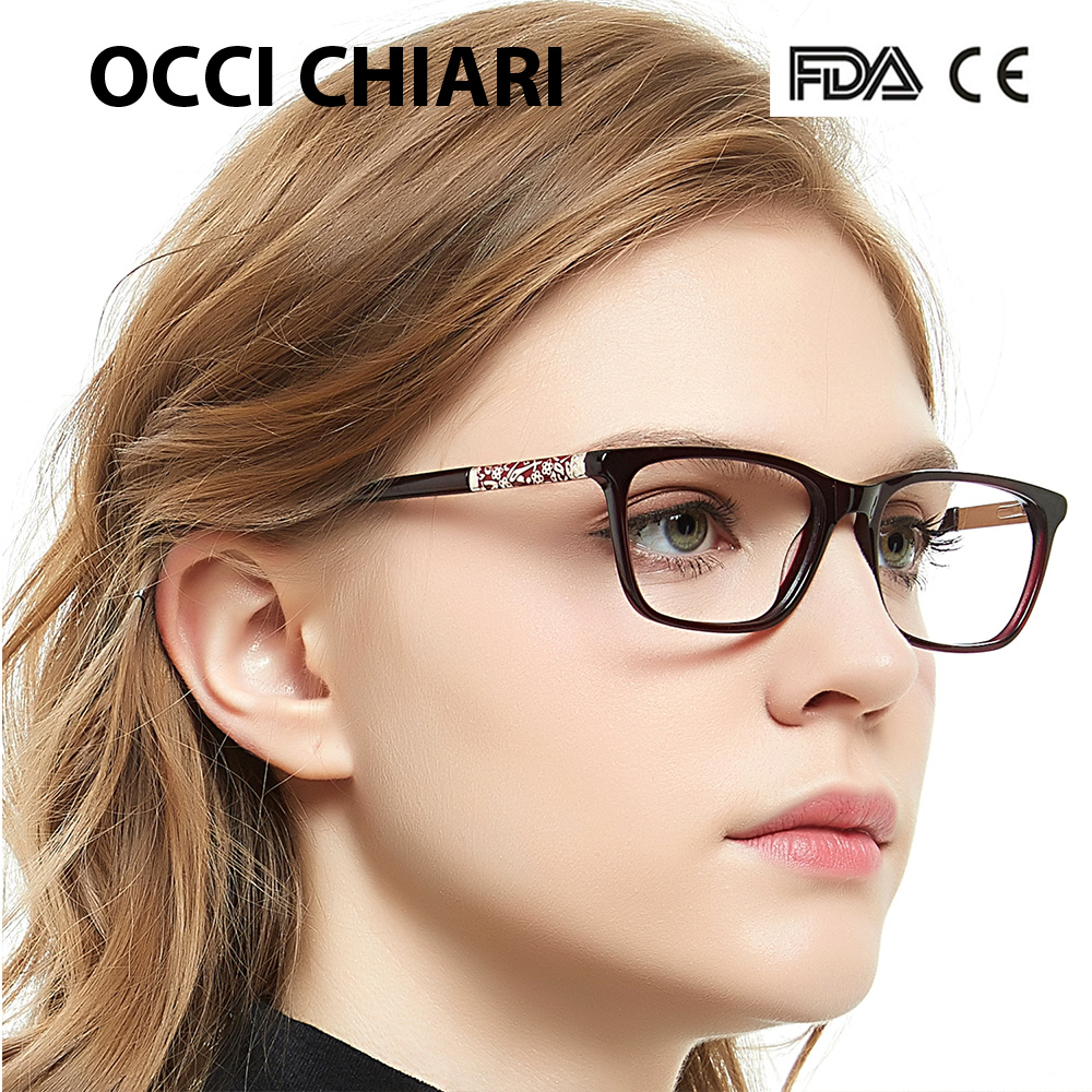 OCCI CHIARI Eye Glasses Frames For Women Designer Brand High Quality Retro Metal Medical Acetate Vintage Eyewear W CERIANA-in Women's Eyewear Frames from Apparel Accessories