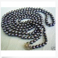 ddh001622 Exquisite Long 50inch 7 8MM black Akoya Cultured Pearl Necklace 28% Discount (A0501)