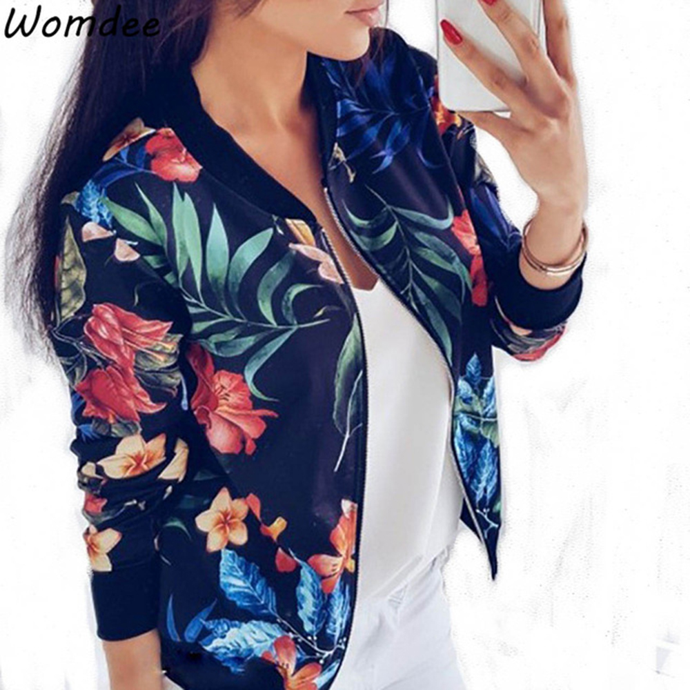 Frauen Mantel Mode Damen Retro Floral Print Zipper Up Casual Mantel 2018 Herbst Plus Größe Outwear Frauen Bomber Jacke 5XL