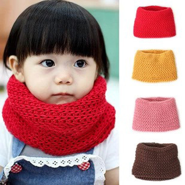 2019 Hot Selling Winter Neckerchief Women Children's Cotton Muffler Baby Bib Warm Soft Boys Scarves Girls Knitted O Ring Scarf