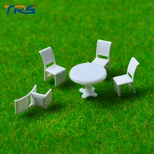 50sets Scale Model 1:75 Model Round Dining Table & four Chairs Scene Set Miniature Furniture Decoration