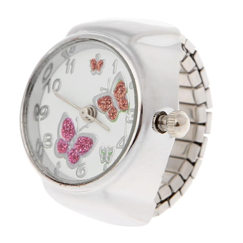 JAVRICK Women Dial Quartz Analog Finger Ring Watch Butterfly Elastic Gift Creative Steel