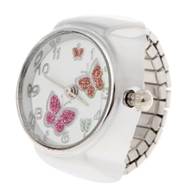 JAVRICK Kvinner Dial Quartz Analog Finger Ring Watch Butterfly Elastisk Gave Creative Steel