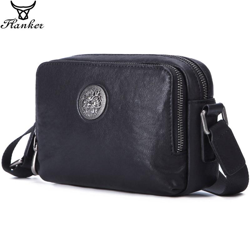 Flanker Men's Messenger BAG Multi-function Leather Zipper Messenger Phone Shoulder Bag Business Waterproof Casual Handbag