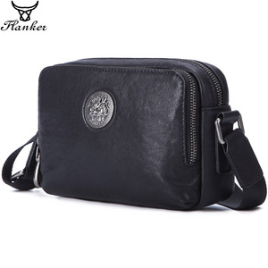 Image 1 - Flanker Mens Messenger BAG Multi function leather zipper Messenger Phone shoulder Bag business waterproof casual handbag