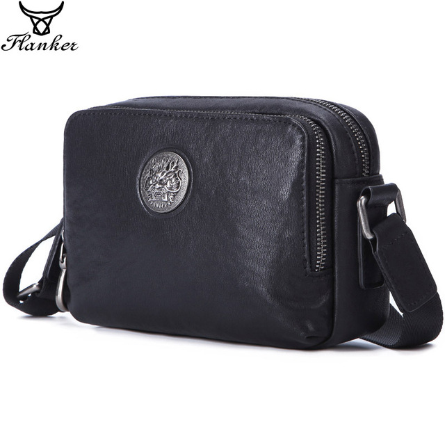 Flanker Mens Messenger BAG Multi function leather zipper Messenger Phone shoulder Bag business waterproof casual handbag