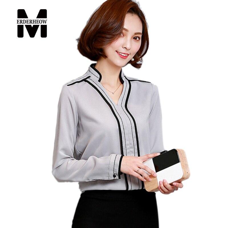 Merderheow nuevo 2017 mujeres del resorte de manga larga de gasa blusas camisas
