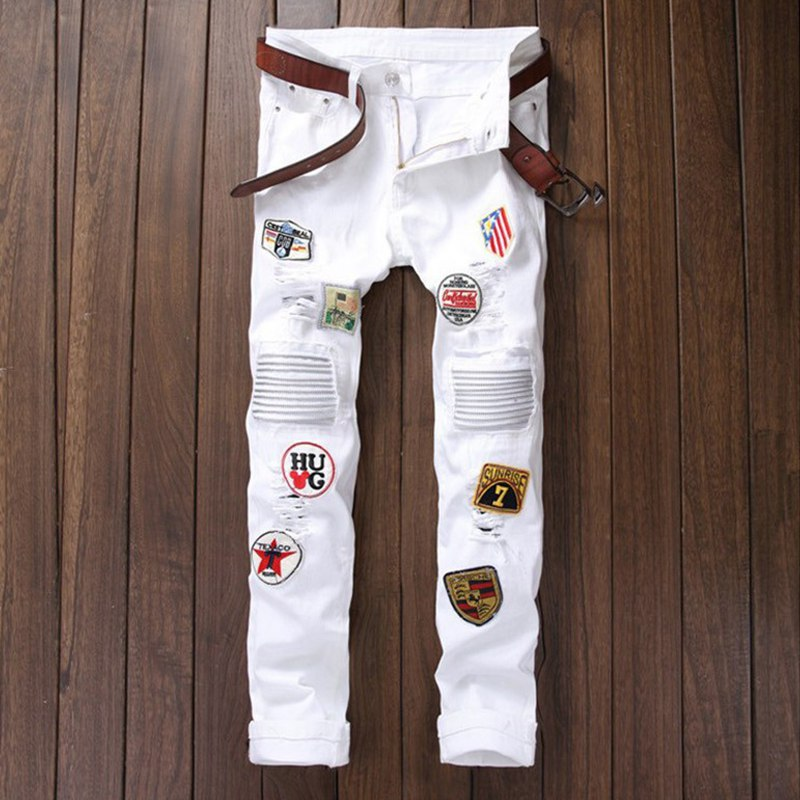 White Cool Personality Badge Patchwork Jeans Hip Hop Rock Men Ripped Jean Fashion Brand Biker Hole Denim Straight Casual Pants