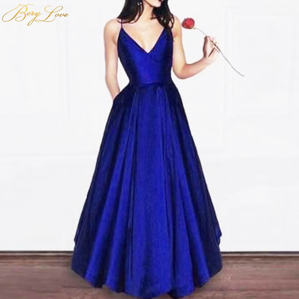 Simple Royal Blue Evening Dresses 2019 Cheap Formal Long Slight Prom Dress V Neck Shiny Gown