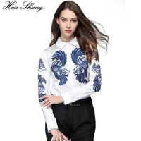 2017 Spring Summer Women Long Sleeve Shirt Elegant Blue Floral Print White Shirts Women Causal Chiffon Blouse Tops