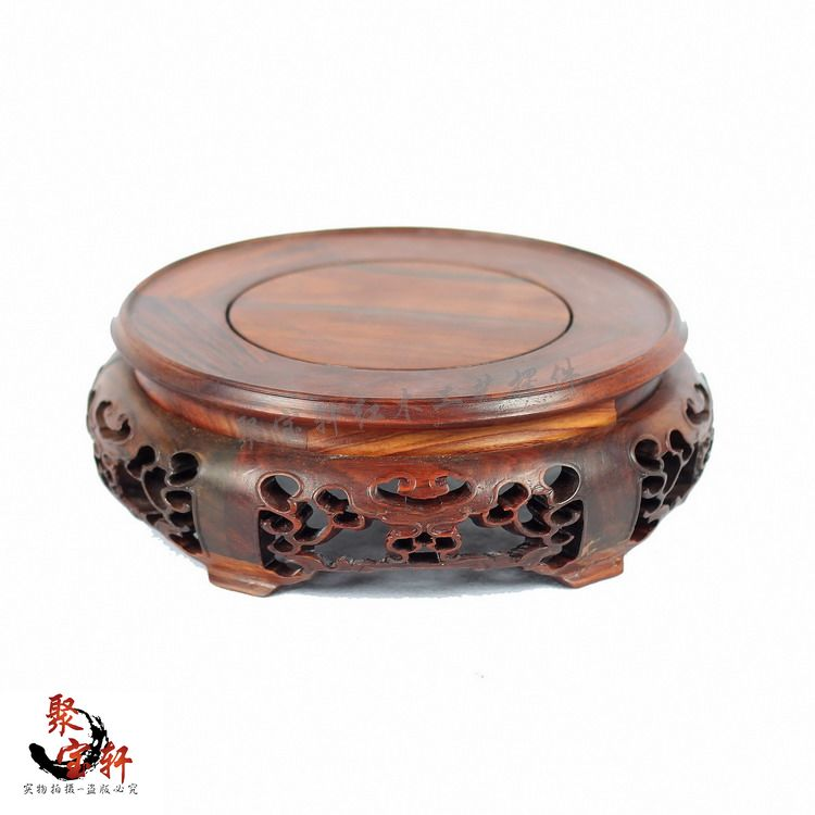 Household act the role ofing is tasted mahogany wood carving handicraft circular base of Buddha vase furnishing articles solid wood carved wooden vase flowerpot tank round big base household act the role ofing is tasted handicraft furnishing