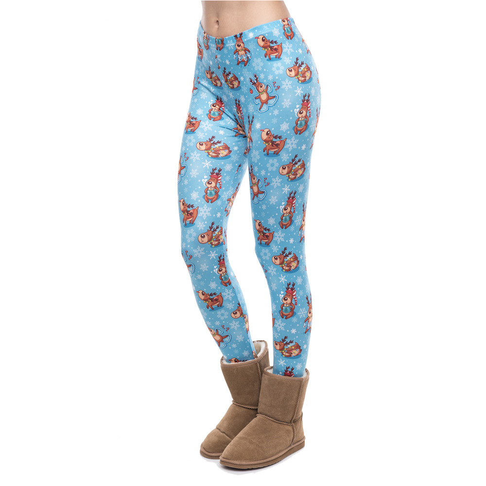 High Elasticity Women Legging Reindeers Winter Printing Fitness Leggings Christmas High Waist Woman Pants