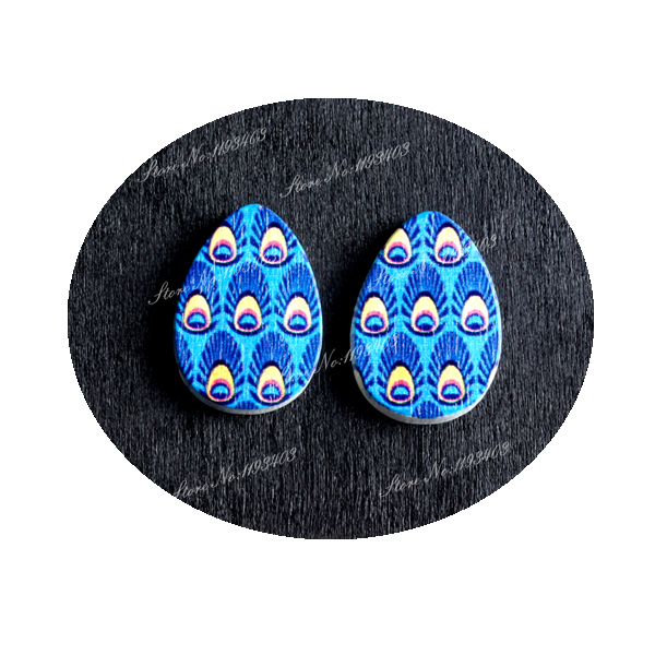 16mm Feather Heart Shape  Image Painted Wooded Laser Cut Cabochon to make Rings, Earrings, Bobby pin, pendant