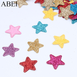 50pcs/lot 2.2cm Glitter Patches Cute Star Patch DIY Apparel Sewing Appliques Material Patches For Clothing Garment Decoration(China)