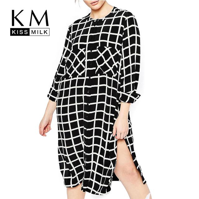 Kissmilk 2016 Talles para Las Mujeres Novio Estilo Grande de Gran Tamaño Bolsillos Dobles Camisa A Cuadros de Manga Larga Side Dividir Vestido