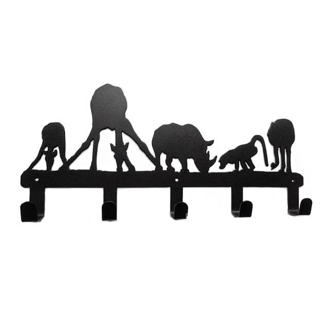 Original Design Decorative Metal Wall Hook Coat Hanger Unique Style Animal Drinking 5 Hooks Home Decoration
