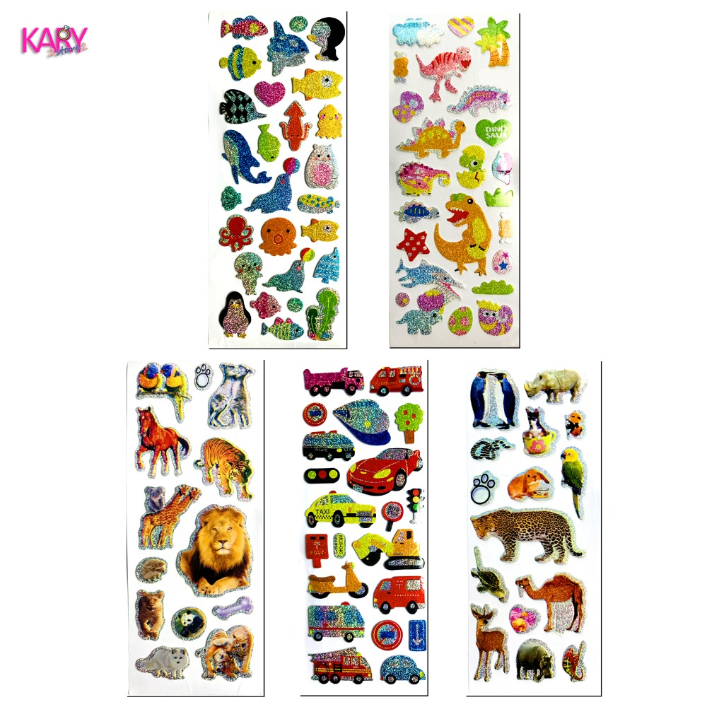 5 Sheets Cars Vehicles Marine Wild Animals Safari Dinosaurs Shiny Sparkle Flicker Flashing Sponge Puffy Stickers Reward Kids Toy