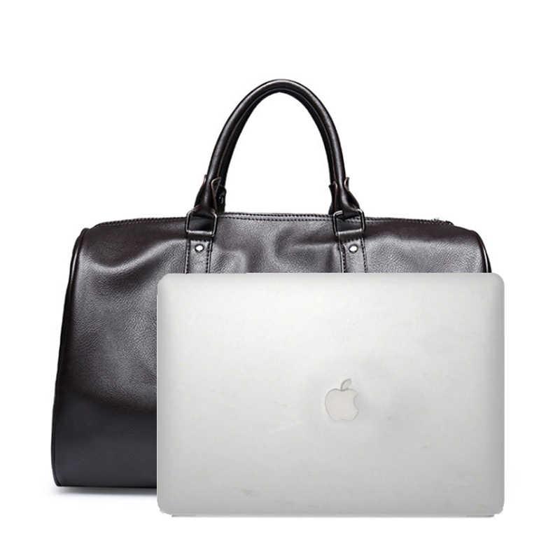 SIHIRLI UNION Marka PU deri çantalar Erkekler Için Büyük Kapasiteli Taşınabilir omuz çantaları erkek Moda Seyahat Çantaları Paketi