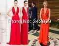 Ph03332 Кристен Белл Весной 2014 красный платье Оскар Партии 2014 холтер красное шифоновое вечернее платье zuhair murad