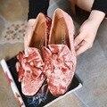 Корейский Стиль Черный Розовый Фиолетовый Бархат Верха Квадрат Ног Среднего Толстые Каблуки женская Обувь 2017 Весной Новый Скидка Обувь