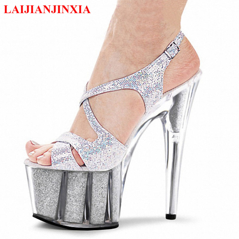 Laijianjinxia Colorfuly 15 Cm High Heeled Shoes Crystal Sandals 6 Inch High Heels Clear Platforms Silver Glitter Women Shoes In High Heels From Shoes On