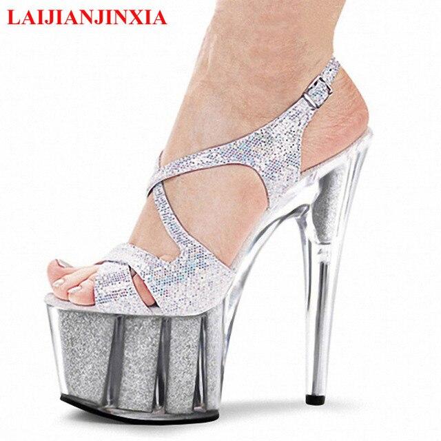 d6c82053b2 LAIJIANJINXIA colorido sexy 15 CM alta-sapatos de salto alto sandálias de  cristal 6 de
