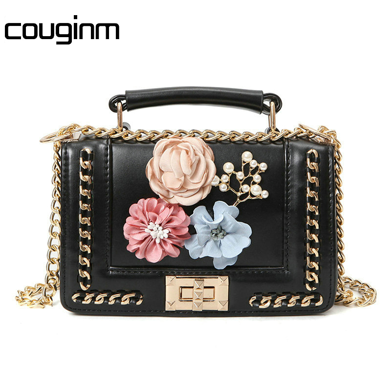 COUGINM New Fashion Flowers Mini Handbags Women Famous Brand Luxury Designer Bags Crossbody Messenger Shoulder Bag famous messenger bags for women fashion crossbody bags brand designer women shoulder bags bolosa