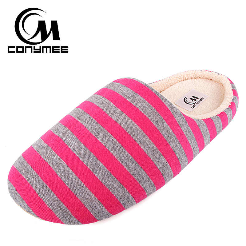 Winter House Shoes Woman 2019 Home Indoor Slippers Soft Plush Warm Cotton Shoes Striped Female Fur Bedroom Slippers Large Size