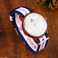 Uwood Women Red Sandal Wood Watch Nylon Band Casual Fashion Wooden Watch With Multi-Color Striped Band