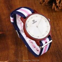 Uwood Mujeres Red Sandal Wood Reloj de Banda de Nylon de Moda Casual Reloj De Madera Con Multicolor de Rayas Banda