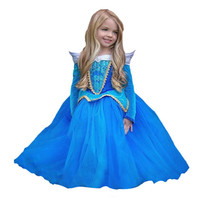 2017 New Children Baby Girls Princess Sleeping Beauty Cosplay Costume Kids Dress For 3 8 Yrs