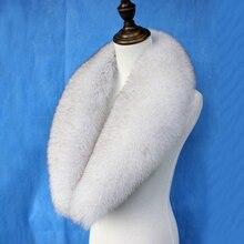 Женский зимний натуральный Лисий меховой воротник модный синий Лисий меховой шарф меховые шарфы шаль женская элегантная шуба воротник