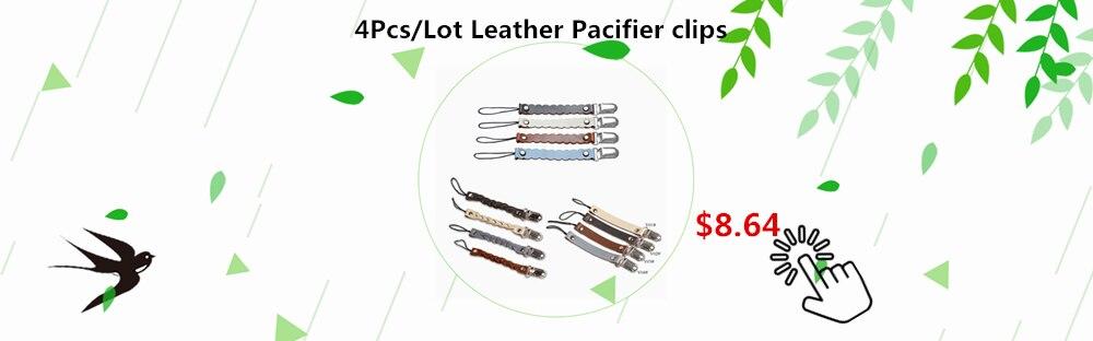 4Pcs Leather pacifier clips