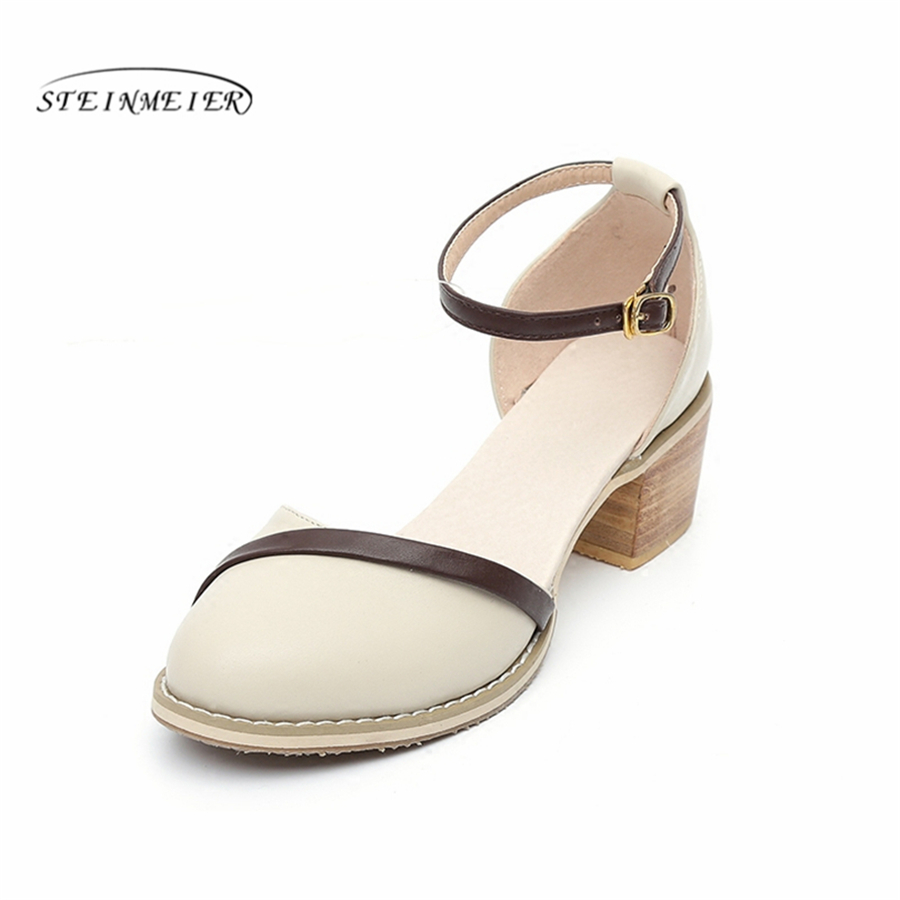 Genuine cow leather designer vintage lady Sandals shoes handmade beige oxford shoes for women 2018 summer chic beige band cool summer lady style straw hat for women
