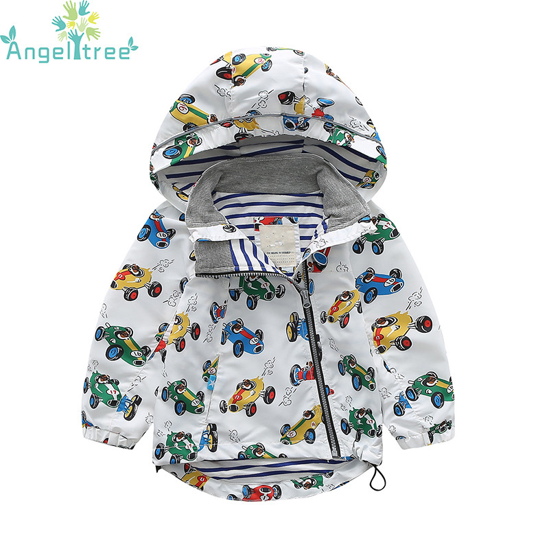 Angeltree New 2018 Spring Jacket Kids For Girls Boys Windbreaker Outerwear Children Clothes Baby Coats Cute Car Clothing JSB1076 2016 new winter spring autumn girls kids boys bunnies patch cotton sweater comfortable cute baby clothes children clothing