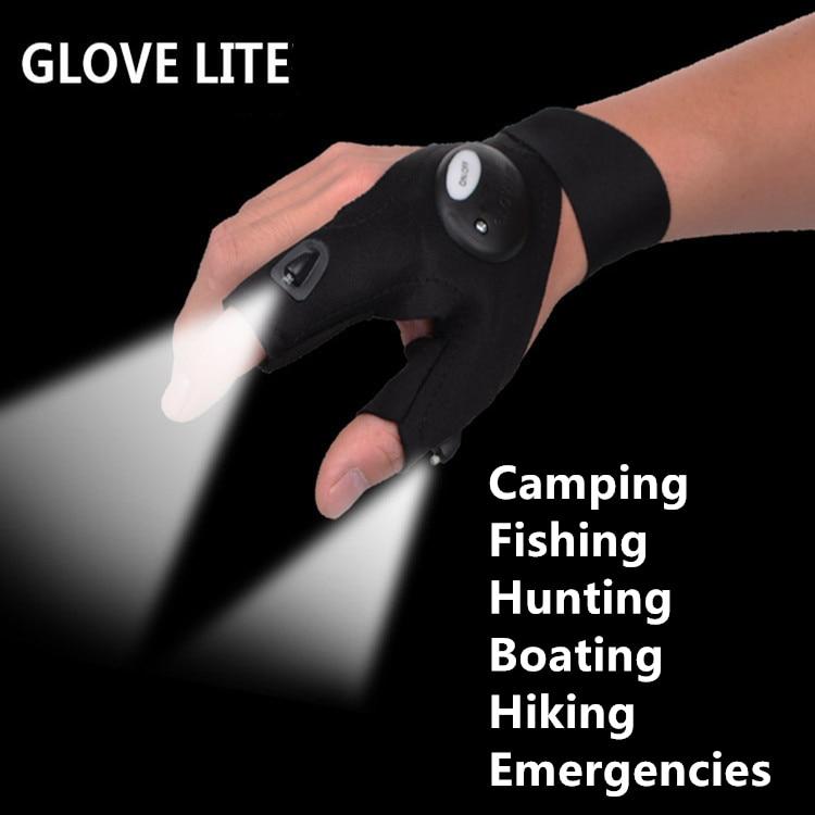 Free Shipping glovelite luminous glovesLED light font b fishing b font gloves camping riding gloves light