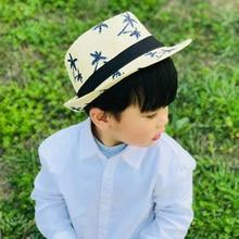 цена на Straw Sun Hat For Men Summer Sweet Retro Kid Straw Hats Beach  Boy Sun Hats Travel Hat