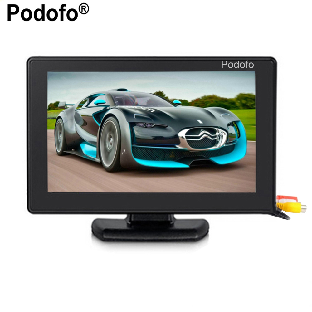Podofo 4.3 Color TFT LCD 1024x768 High Resolution 2-Channel Video Input Display Monitor Screen For DVD VCD Security Monitor ...