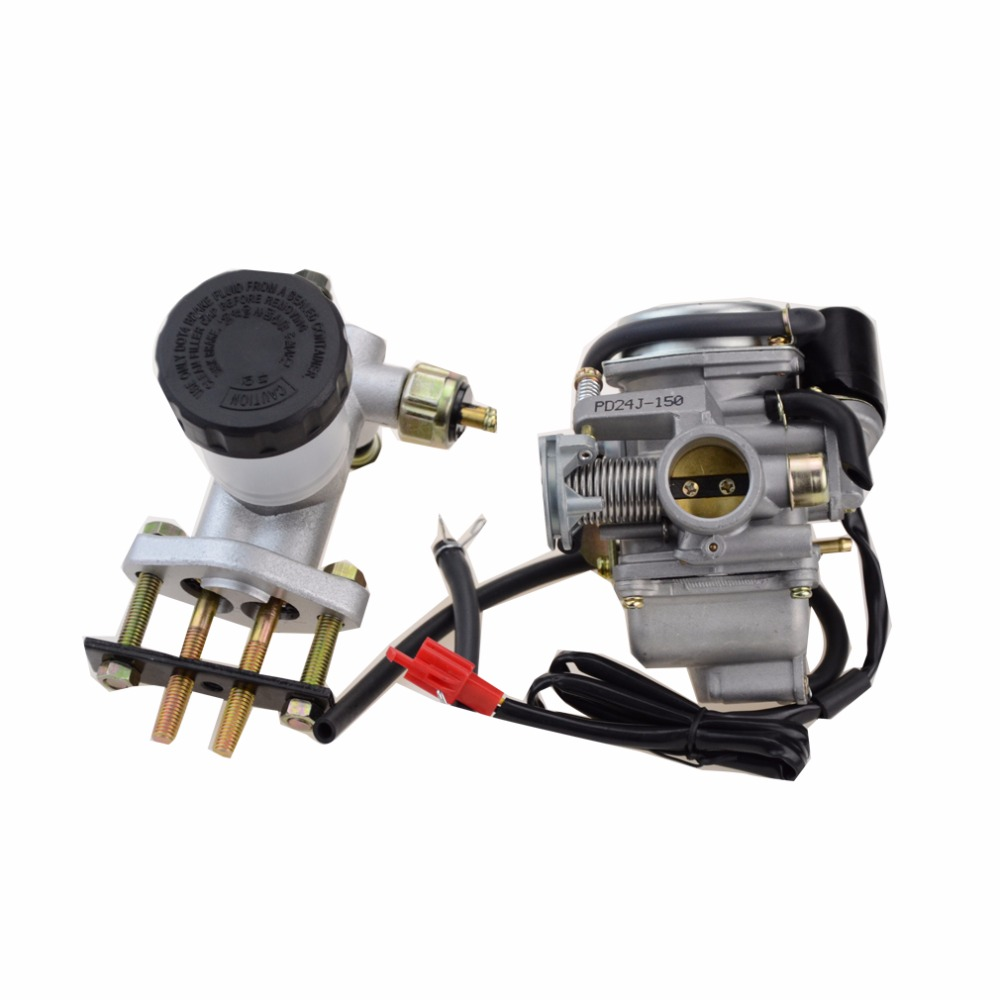 GOOFIT PD24J Carburetor 24mm carb with Brake Master Cylinder for GY6 150 ATV Scooter Group-109