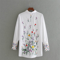 2017 Fall Style Fashion Women Floral Embroidery Long Sleeve Shirts White Uneven Blouses Casual Loose Tops