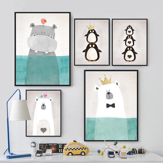 Мультфильм Животных Печать на Холсте Живопись Плакат, стены Картины для Украшения Дома, Декор стен FA400