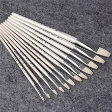 6 pcs/Set,nine holy sheep tail flat pen set painting gouache watercolor brush Set Drawing Art Supplies chese painting brush art