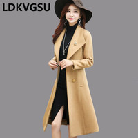 Women Slim Woolen Coat Long 2018 Autumn Winter New Wool Jacket Women Temperament Woolen Coat Female Plus Size Trench Coat Is916