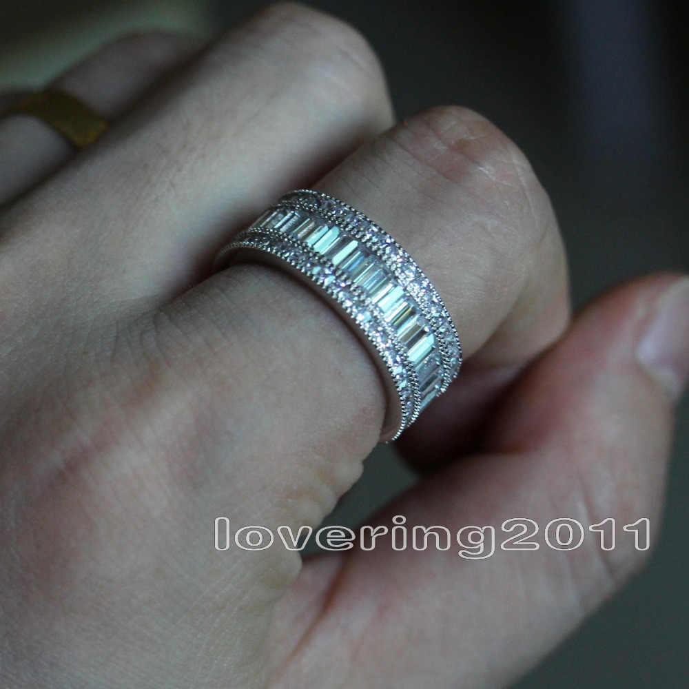 ขนาด 5-11 แฟชั่นเครื่องประดับเต็มรูปแบบ CZ หรูหรา 10kt white gold filled GF ผู้หญิงเลดี้งานแต่งงานแหวนชุดของขวัญ