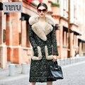 4XL Plus Size 2016 Casaco de Inverno Mulheres Jaquetas De Couro com Pele De Raposa Genuíno Couro De Carneiro Para Baixo Casacos 6155B