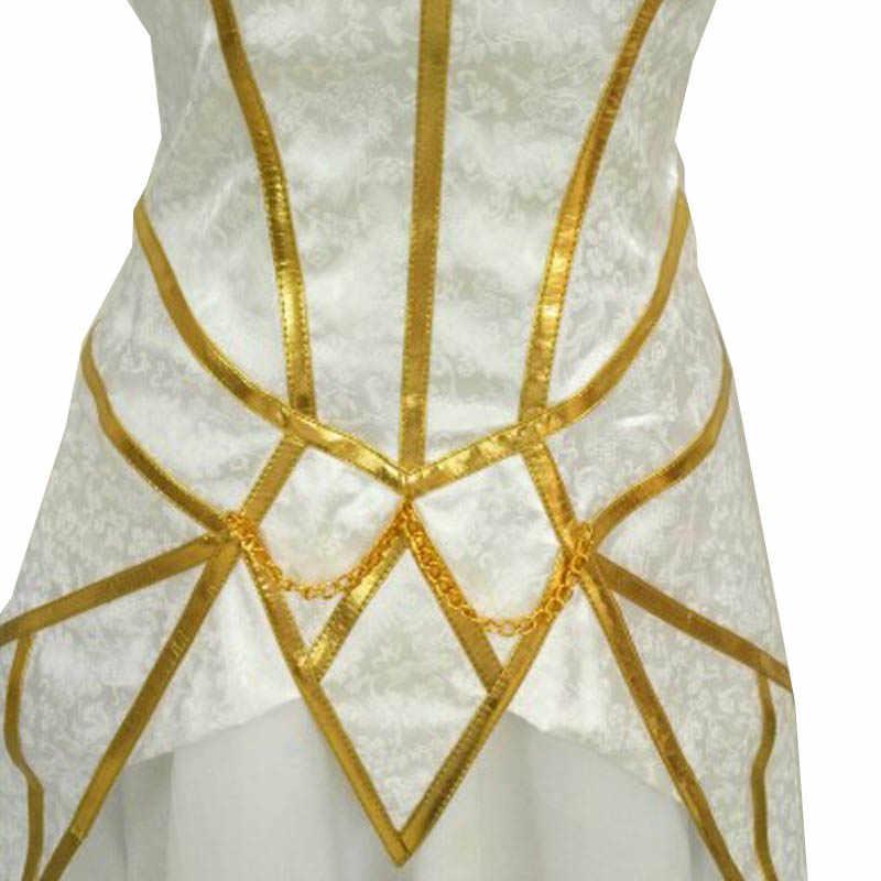 Coshome LOL Lux Косплей парики костюмы женское белое платье девушки Хэллоуин вечерние костюмы летний наряд униформа