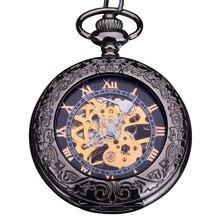 2016 de bolsillo del Fob del reloj mecánico relojes moda hombre números romanos diales tono de bronce de bronce negro cadena transparent volver