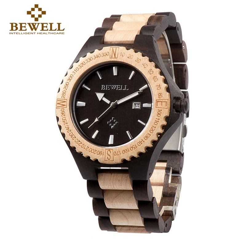 BEWELL גברים שעונים עץ שעונים עיצוב מותג - שעונים גברים