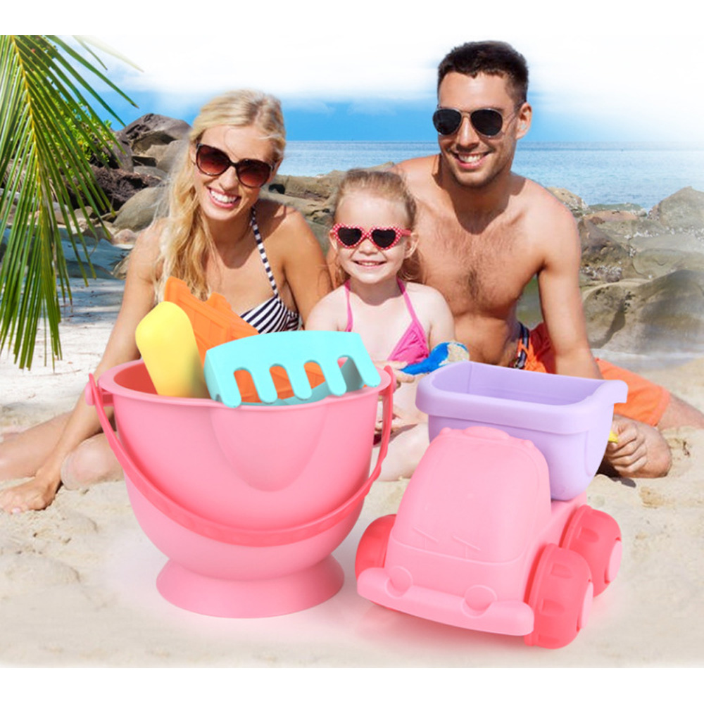 5pcs Soft Silicone Beach Sand Toys For Children SandBox Set Sea Sand Bucket Rake Play And Fun Shovel Moldes Summer
